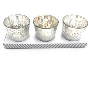 NIB  Frosted & Speckled Votive Candle Holders (3)